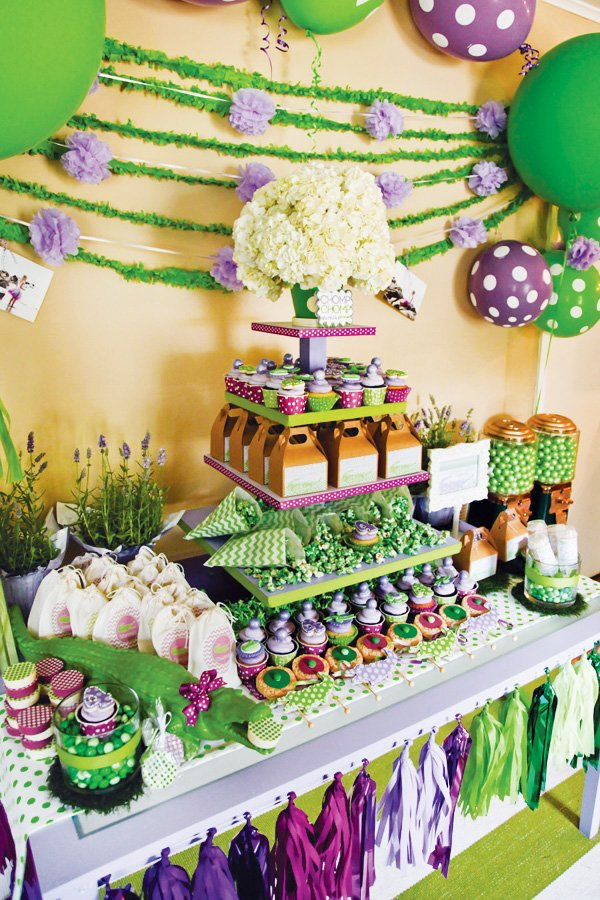 purple polka dot croc birthday dessert table