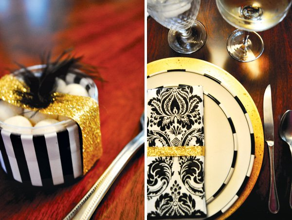 roaring 20's party table setting in gold and black