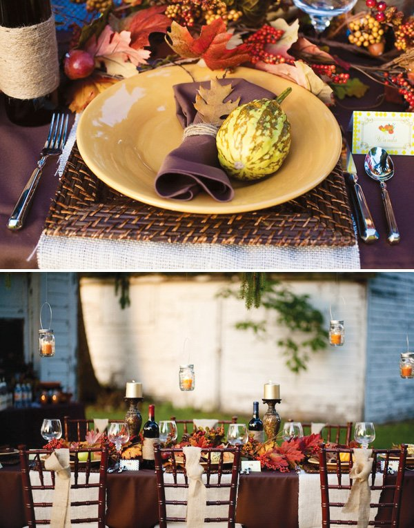 rustic outdoor thanksgiving table