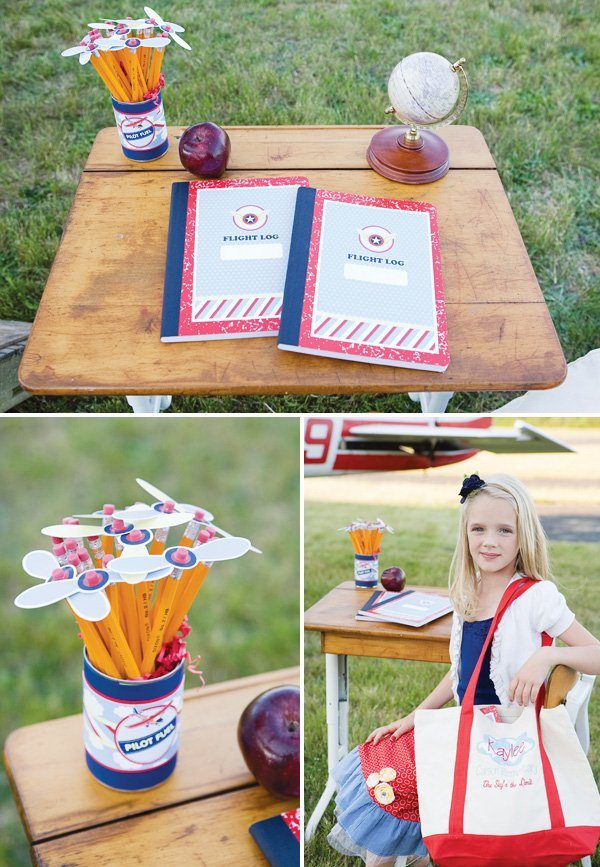 Airplane themed school pencils and composition notebooks