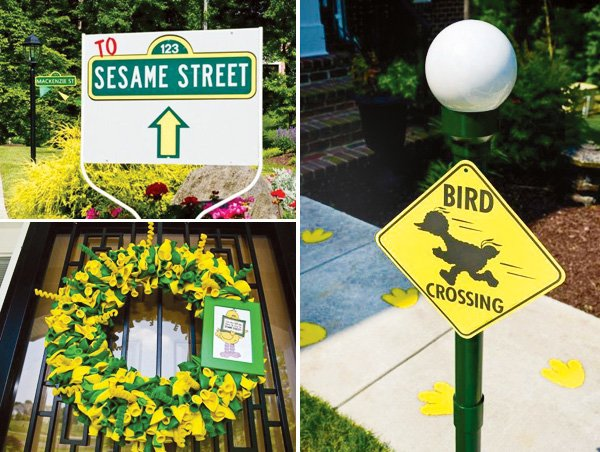 sesame street party signs