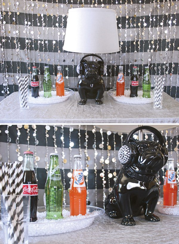 teen party drink and decorations table with a music theme