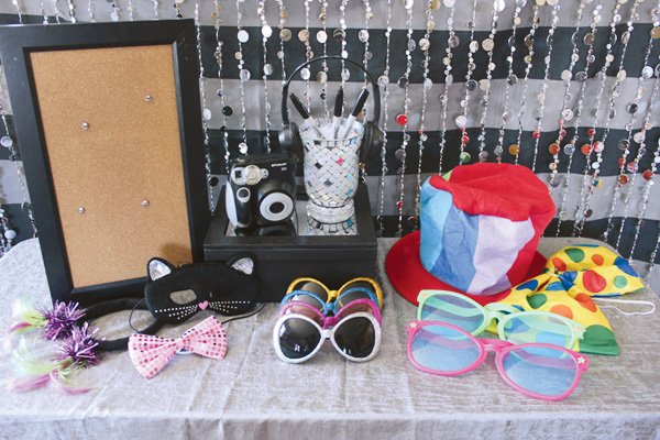 teen party photo booth prop table