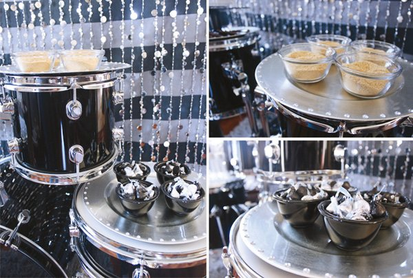 s'mores display on a drumset