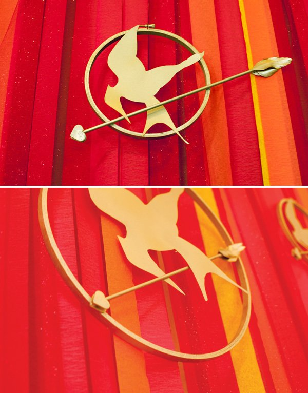 the hunger games mockingjay pin backdrop