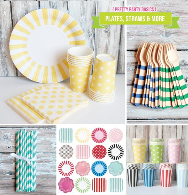 stylish paper plates, napkins, and stripey straws