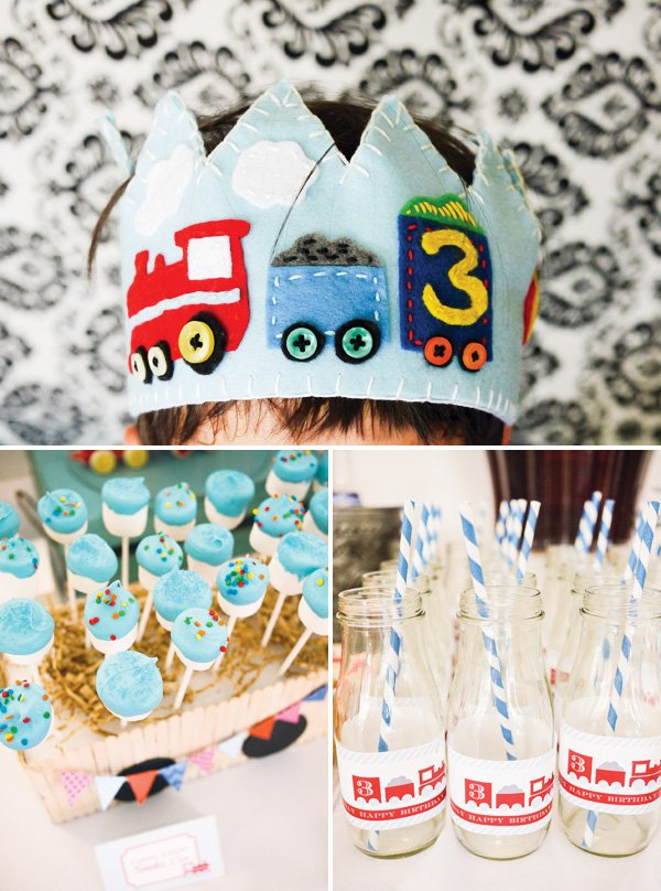 train birthday crown