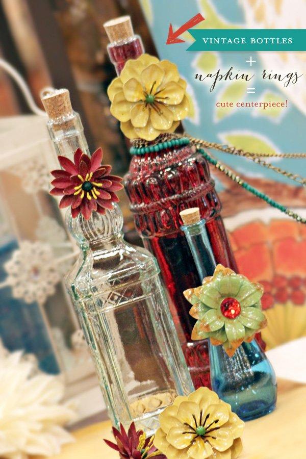 vintage bottle centerpiece idea
