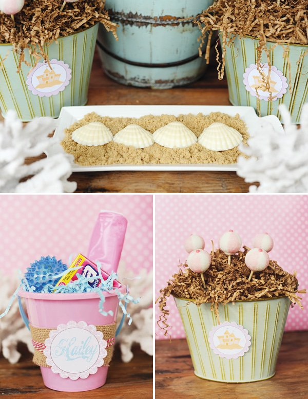 vintage luau party with pink bucket favors