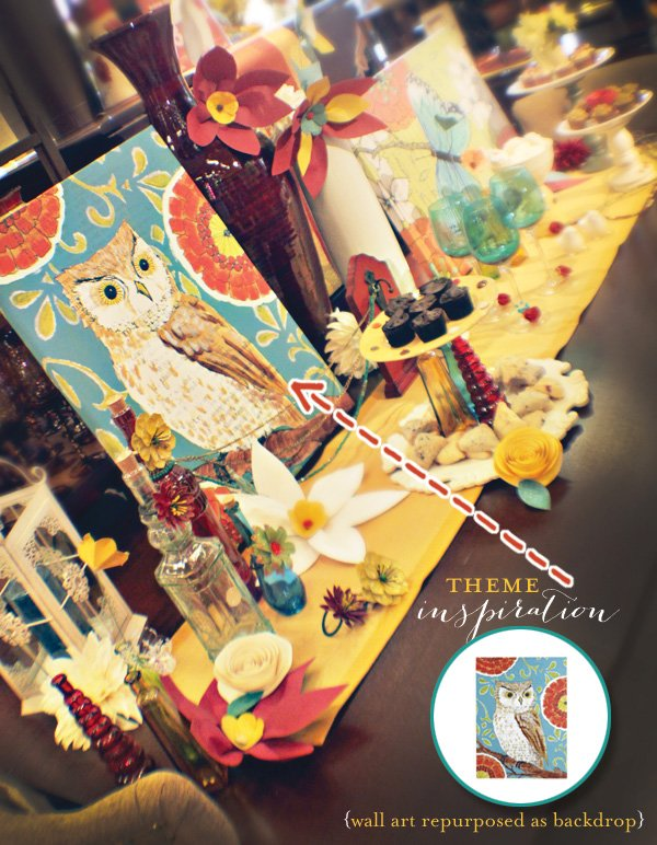 vintage and modern dessert table with owls