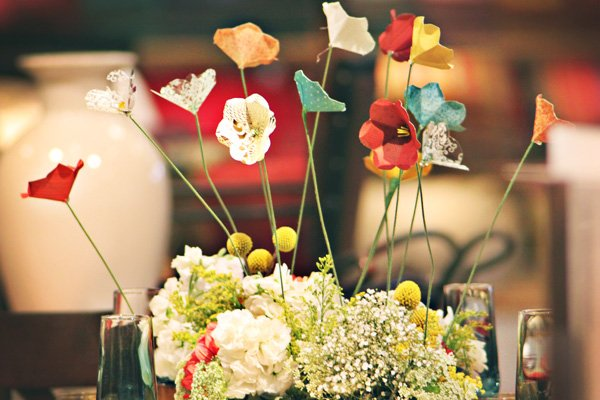 whimsical paper flowers with fresh flowers - centerpiece