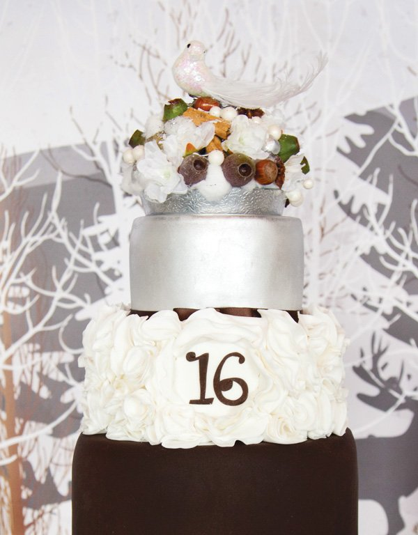 winter wonderland sweet sixteen cake