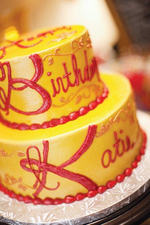 yellow fall birthday cake