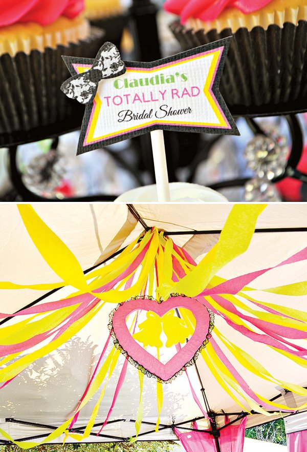 80s bridal shower decorations and totally rad cupcake toppers