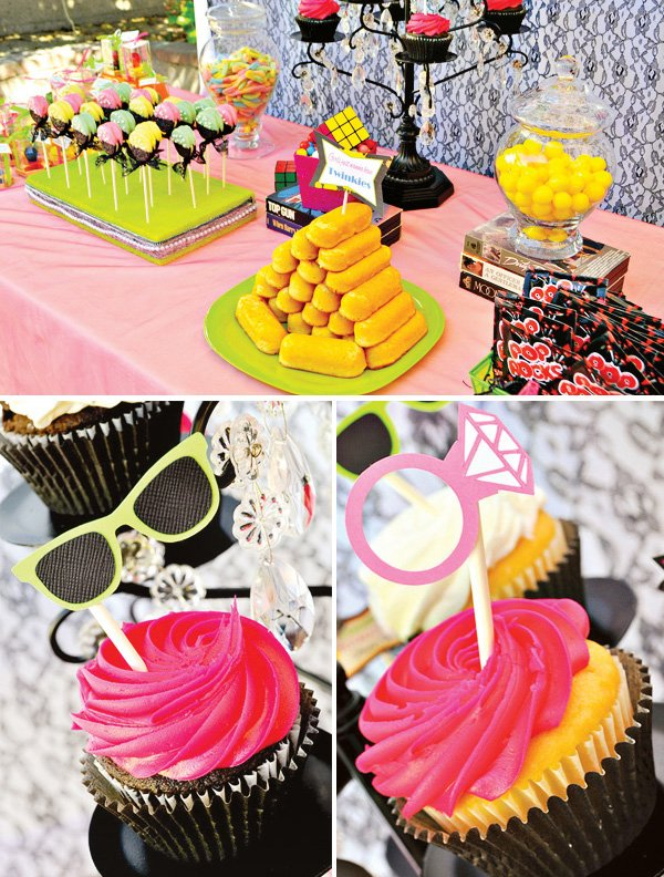 80s themed dessert table and bridal shower cupcakes