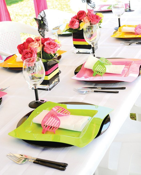 80s theme place setting with sunglasses