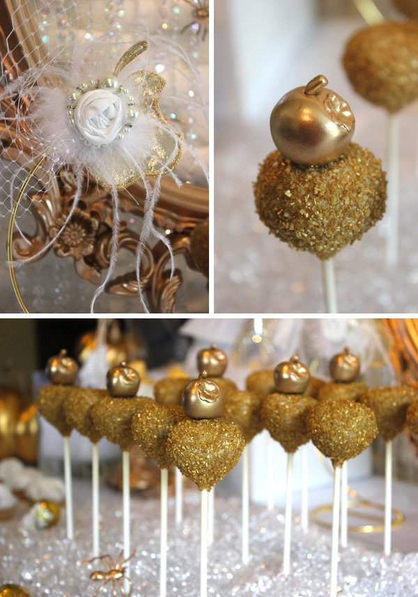 gold cakepops with gold fondant apples