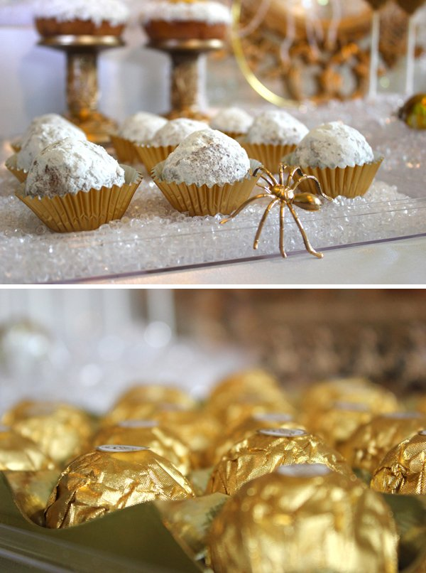 donut holes and chocolates in gold wrappers