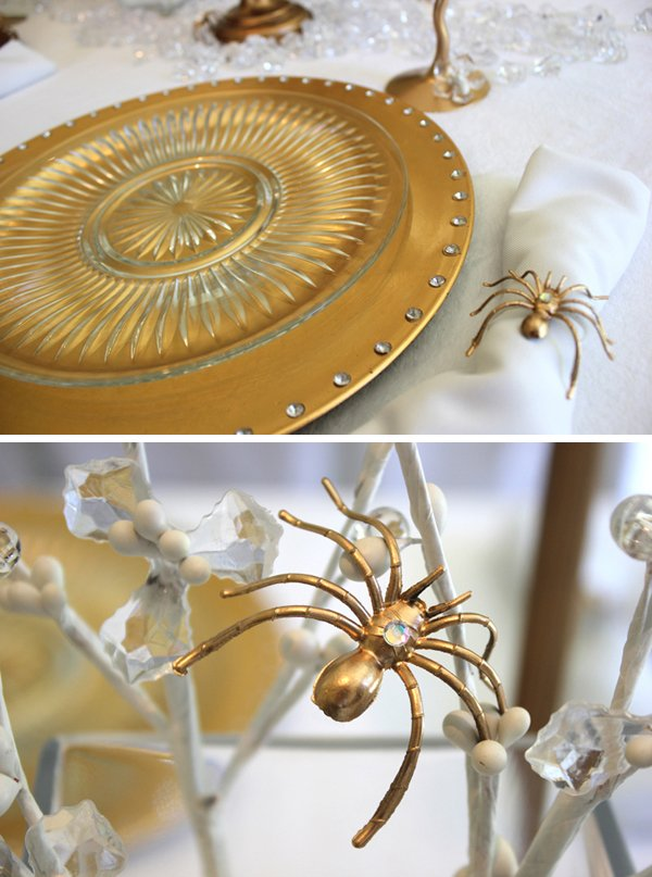 bitten gold placesetting with spider napkin ring