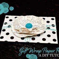 diy paper flower gift wrap tutorial