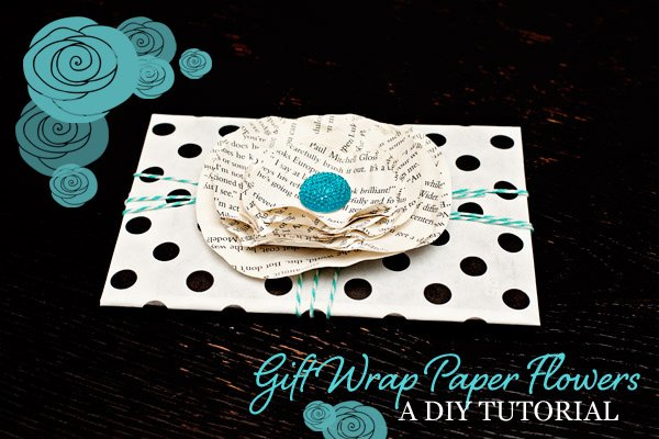 Diy tutorial paper flowers for gift card wrapping hostess with diy paper flower gift wrap tutorial mightylinksfo