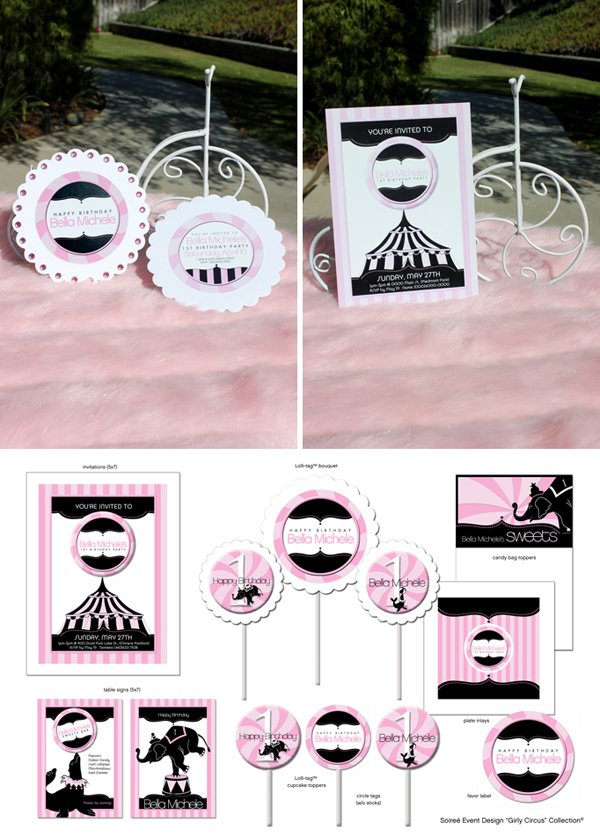 girly circus printables and invitations