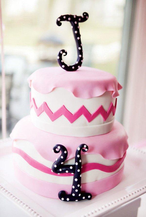 pink polka dot chevron cake