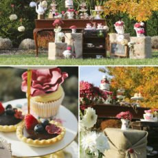 Tea party floral decorations and sweet treats