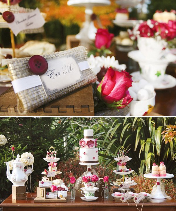 "Burgundy tea party inspiration with ""Eat Me"" labels"