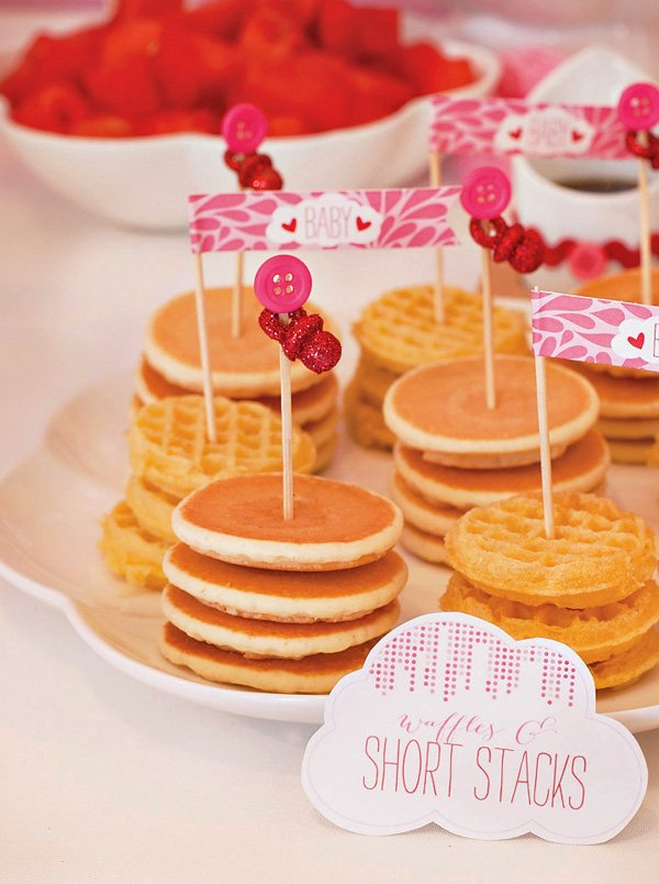mini pancake and waffle stacks with pacifier food toppers
