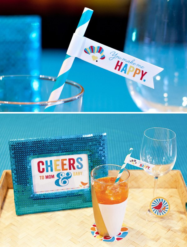 baby shower drink flags and sign