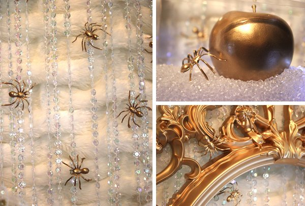 gold spider backdrop with gold mirror