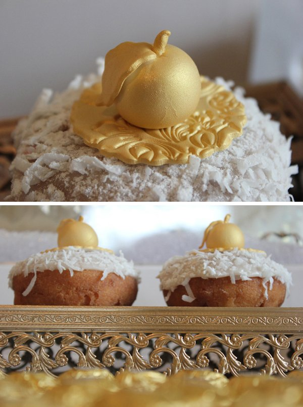 gold fondant apple toppers on donuts