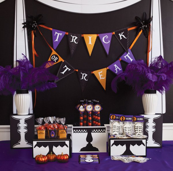 Dessert table with Trick-or-Treat bunting