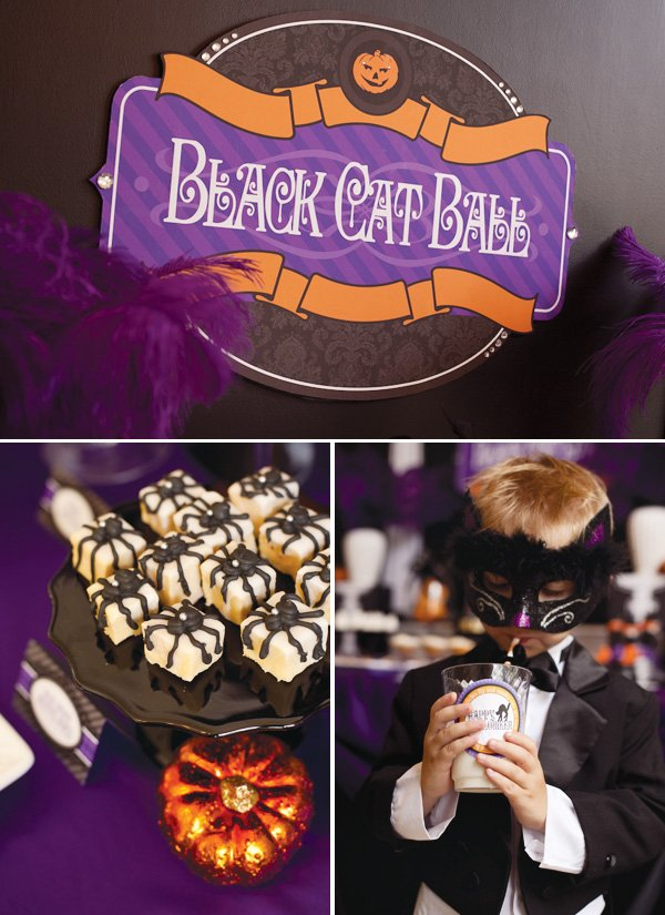 Black Cat Ball dessert table printable