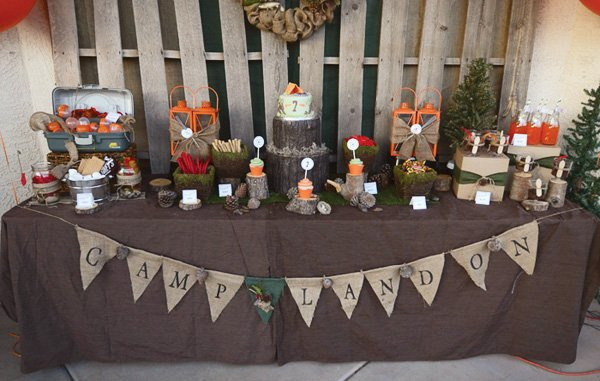 camping party dessert table in brown & burlap