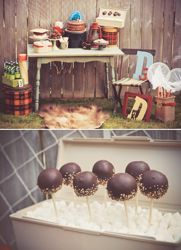 camping s'more cake pops