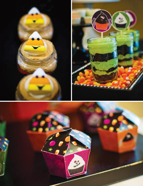 candy corn dessert toppers for a kids halloween party
