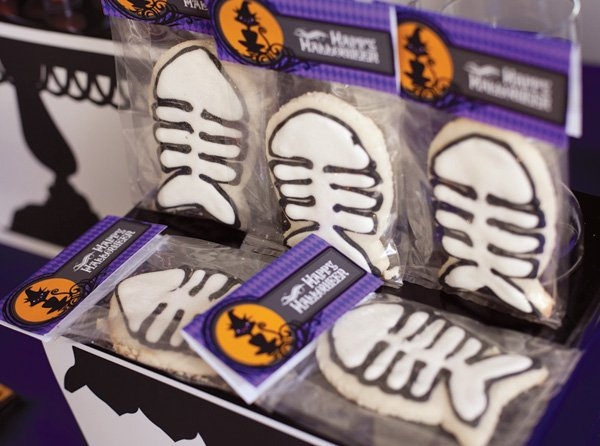 Fish Bone decorated sugar cookies with Happy Halloween Printable favor bag