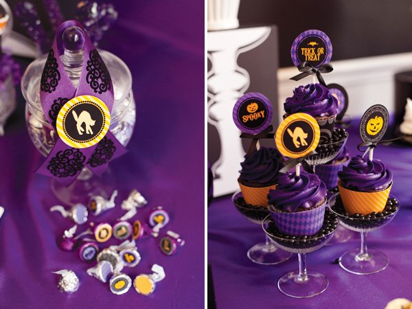 Purple cupcakes with halloween inspired cupcake topper printables