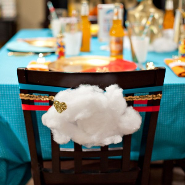 cloud and glittered heart chair decoration