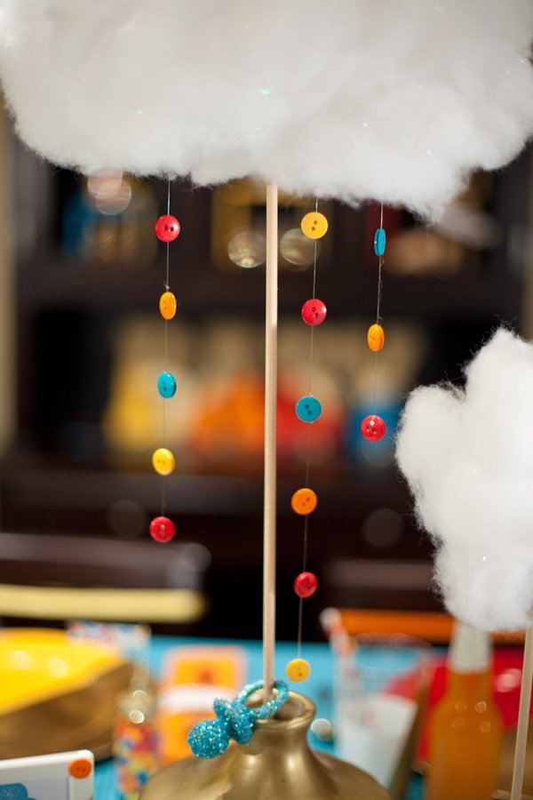 cloud centerpiece with button raindrops
