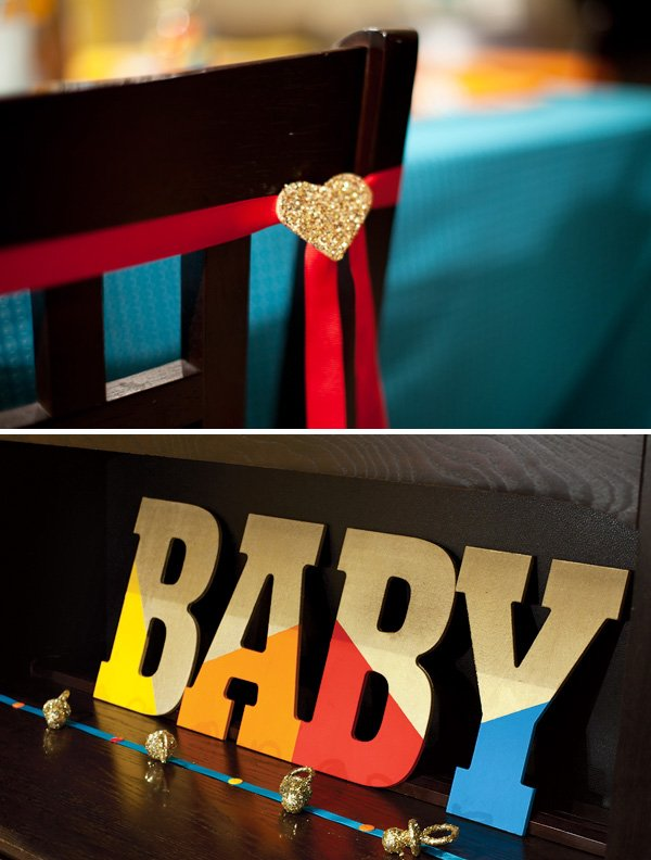 color block baby shower letters