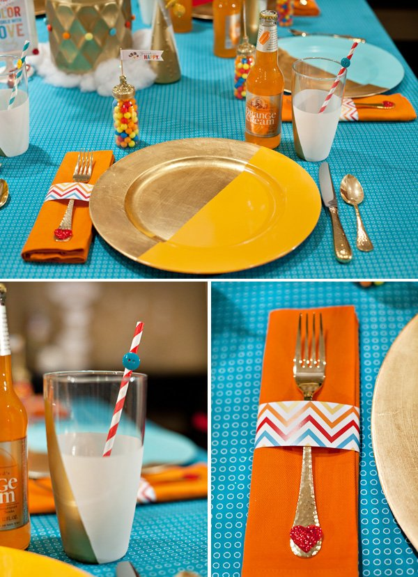 color block party place settings and chargers