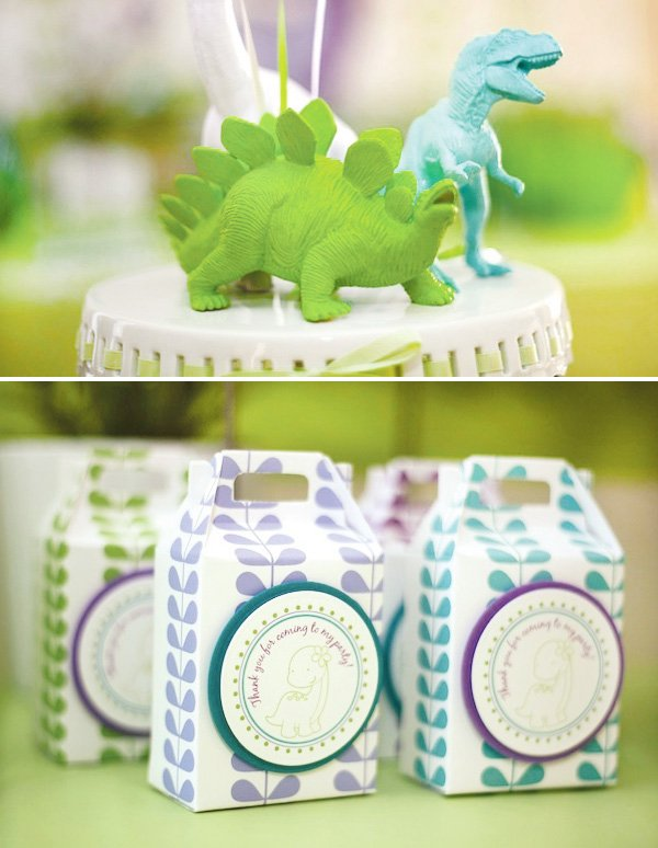 Girly dinosaur party favors