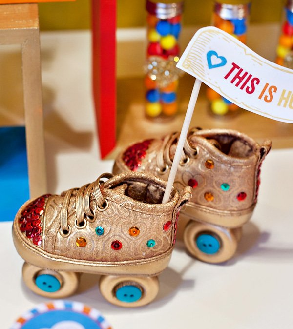 disco baby shower roller skates