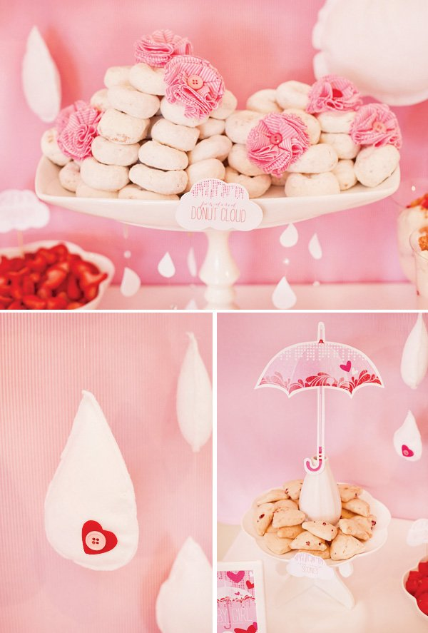 donut cloud with pink DIY fabric flowers
