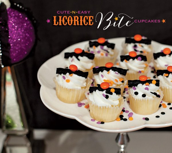 easy halloween cupcakes idea - black orange purple