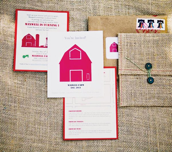 farm burlap invitation