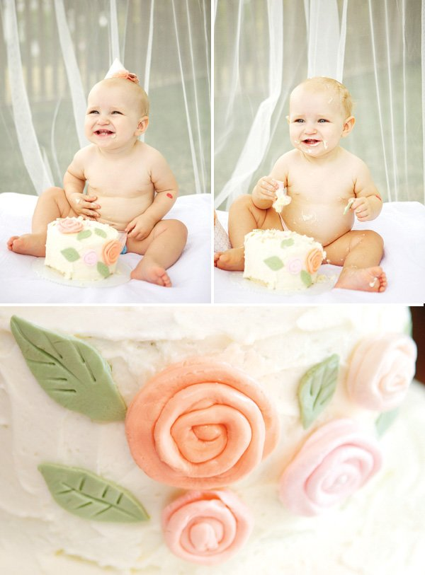 first birthday flower smash cake